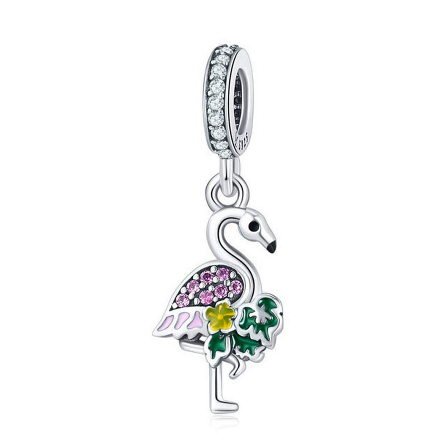 EverReena Colorful Flamingo Trendy Charms fit Dangle Silver Beads Bracelets