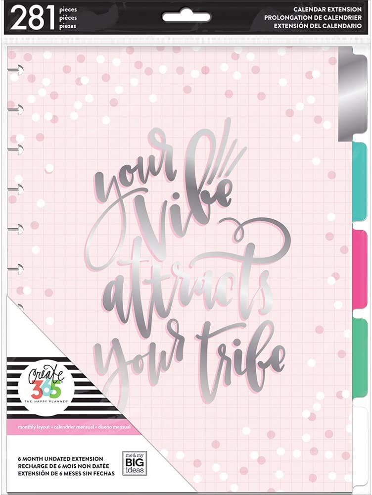 me & my BIG ideas 6 Month Calendar Extension - The Happy Planner Scrapbooking Supplies - 6 Pre-Punched Dividers - Undated Monthly & Weekly - 1 Sticker Sheet with Months and Numbers - Big Size