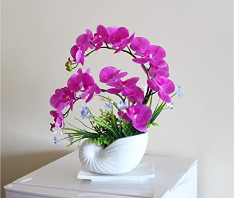 Tac Nearly Natural Phalaenopsis Silk Orchid Flower Arrangement Artificial Flower Plants Home Wedding Decor Butterfly Orchid Hot Pink
