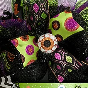 Hocus Pocus Crazy Eyeball Halloween Wreath Handmade Deco Mesh 3