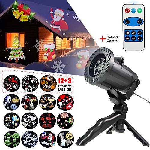 Projector Light Outdoor Switchable 15 Pattern Decoration Waterproof Rotating Lamp with Remote Control for Holiday Halloween Party Birthday Wedding Lightening (Outdoor White Housing Slide)