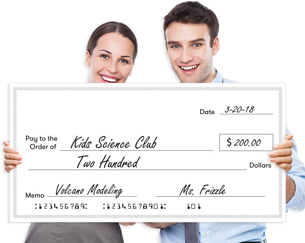 """Giant Fake Award Presentation Check - 16"""" x 32"""" - Large Novelty Endowment Check for Endowment, Donations, Fundraiser - Big Blank Oversized Raffle Sweepstakes Reward Winners Check (Striped Borders)"""