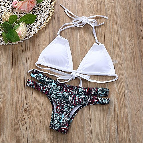 SKY Hot Selling !!!Bikini traje de baño de color dividida sólidos simples Bandage Bikini Push-up Padded Bra Swimsuit Bathing Set Beach Swimwear Blanco