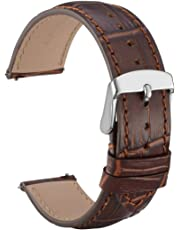 WOCCI 22mm Alligator Embossed Leather Watch Band - Quick Release Watch Strap (Brown with Tone on Tone Seam)