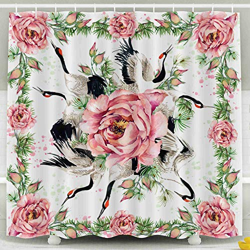 Musesh Fabric Shower Curtain,Kids Shower Accessories, 78x72 Inch Shower Curtain Home Decoration Set with Hooks Floral Shawl Textile Silk Scarf Roses Flower Japanese Crane Bird Watercolor Asian