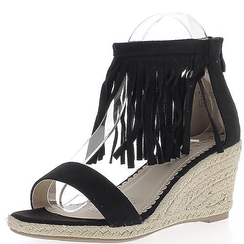 Alpargatas Cuña a Mujer Negro a Tacones de Gamuza de Aspecto 7,5 cm: Amazon.es: Zapatos y complementos
