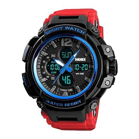 P Prettyia Reloj Digital Deportivo Multifunconal Resistente al Agua de 50M Iluminación LED de Fondo para