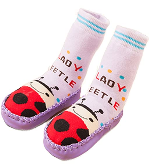 Cute Baby Boys Girls Toddlers Moccasins Non-Skid Indoor Shoes Socks Ladybug (1.5-