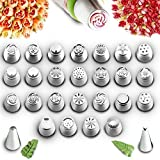 COOK ARTY Russian Piping Tips for Cake & Cupcake Icing Decorating Supplies Set 54 Pcs Decoration tools 25 Pc Extra Large Piping Nozzles Leaf Tip 3 Coupler + Reusable Bags & Flower Chart Storage Box