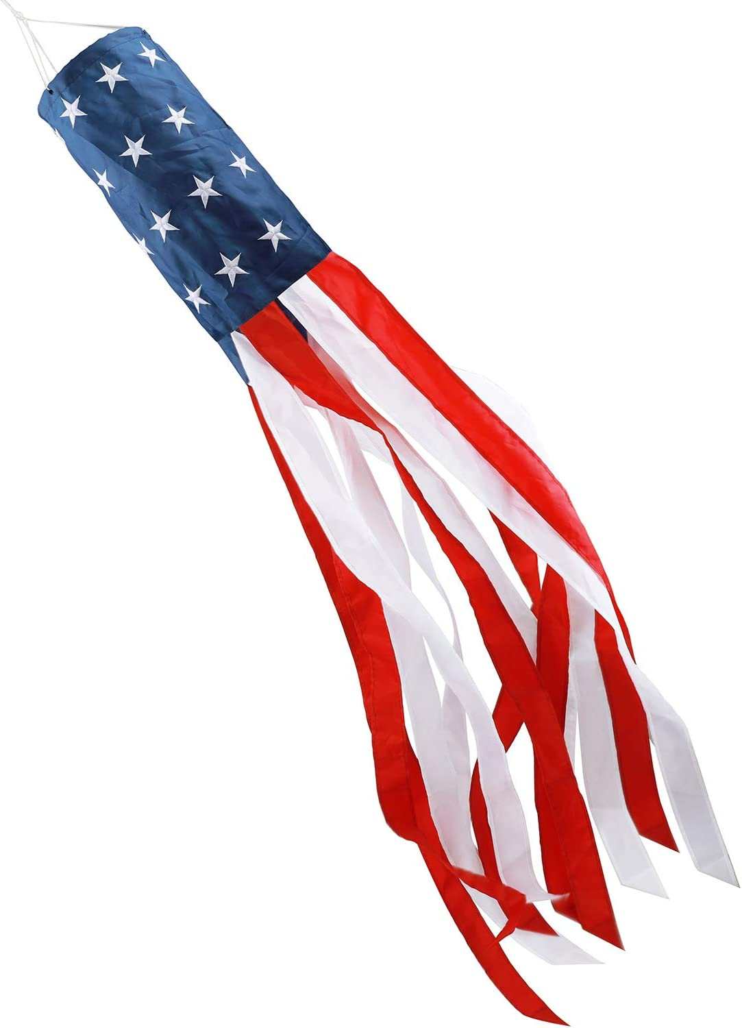 HOOSUN American US Flag Windsock Stars & Stripes USA Patriotic Decorations Embroidered Stars and Fade Resistant 40 Inch