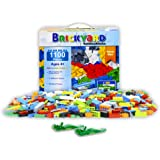 Brickyard Building Blocks Building Bricks - 1,100 Pieces Compatible Toys Bulk Block Set with 154 Roof Pieces, 2 Free Brick Separators, and Reusable Storage Box with Handle (1,100 pcs)
