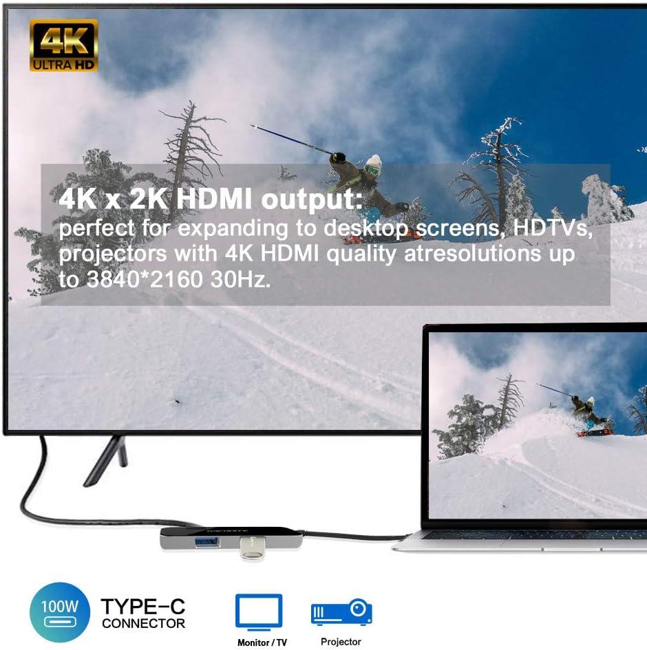 4K x 2K HDMI 2 puertos USB 3.0 tipo A aluminio y exterior de cristal Hub USB-C Gigabit Ethernet 100 W de potencia ARCANITE LUCN3288