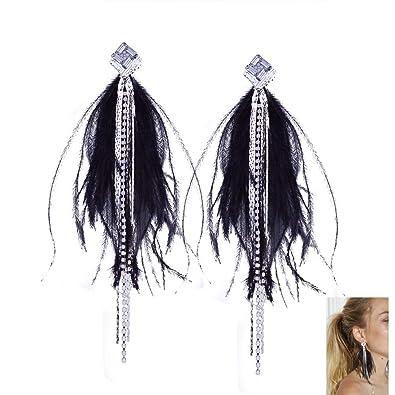 d8008852a275 Pendientes de la pluma larga de las mujeres de la borla de la joyería de  Bohemia de Accesorios de boda (Negro)  Amazon.es  Joyería
