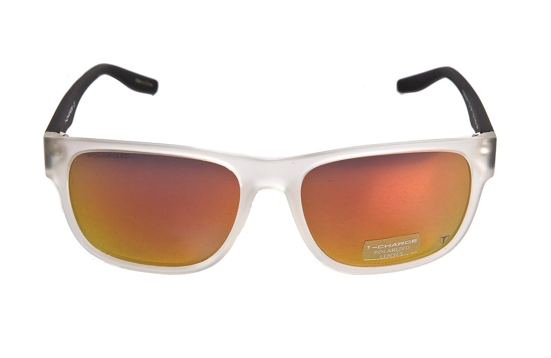 Hickmann T-Charge Plastic Frame Men Sunglasses,Polarized Matte White-Orange-Black-Red