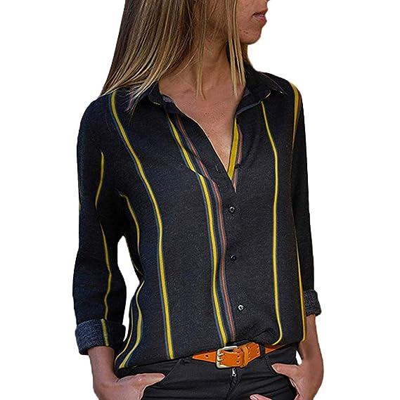 ❤ Tefamore Camisa para Mujer, Rayas Impresión Blusas Cuello En V Manga de Larga Blusón Mujer Moda Tops con Botón: Amazon.es: Ropa y accesorios