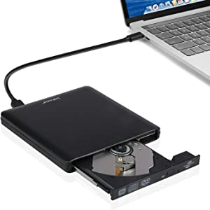External Aluminum USB3.0/USB-C lightscribe DVD Burner DVD Writer DVD Player Compatible for Old and New MacBook pro iMac 2011 2012 2017 2018 and Computers Support Windows10/8/7/XP/Mac OS X (Black)