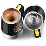 [Update]Self Stirring Coffee Mug - Upintek Magnetic Self Stirring Cup, Electric Stainless Steel Automatic Self Mixing Cup and Mug for Traveling Morning, Office Men and Women 450ml/15.2oz (Black)