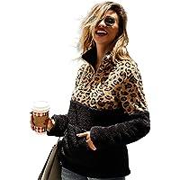 Puedo Women's Splice Sweatshirts Half Zip Long Sleeve Sherpa Pullover Winter Jacket Coat Plush Outerwear