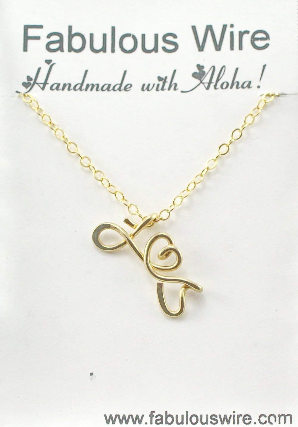 Personalized Love initial Necklace Lovers Two Initials With Heart Necklace Custom 14K Gold Filled Wire Necklace