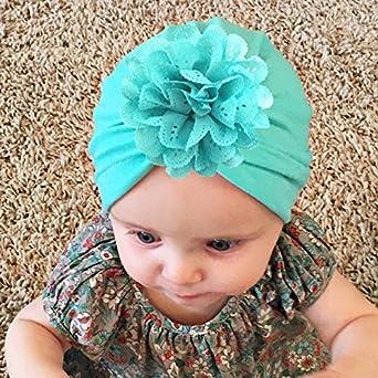 Amazon.com  6 Pieces Bewborn Baby Hats Infant Turban Head Wrap Floral Head  Cap  Clothing e76e235bc66