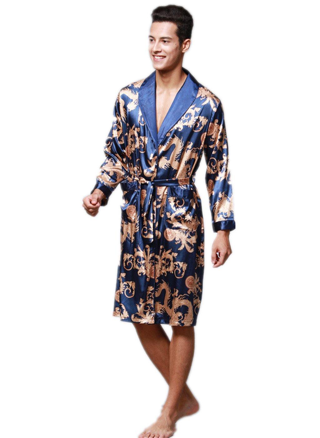 Nyeutho Men's Satin Robe Dragon Luxurious Silk Spa Long Sleeve House Kimono Bathrobe