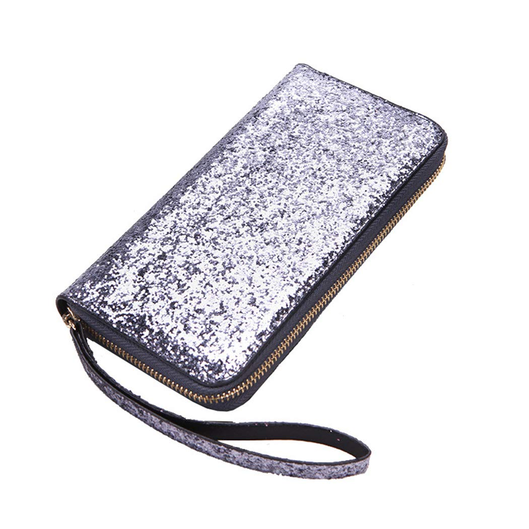 SUPERCB Wallet For Women Cellphone Bifold Cluth Wristlet Purse Sequin Black