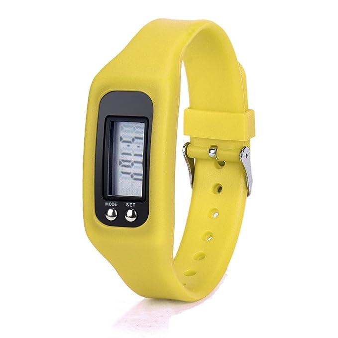 Relojes Digital Deportivos Podómetro De Pulsera Desmontable Fitness para Deportes Exteriores Ultrafino para Hombre Mujer Ninos (Amarillo): Amazon.es: Ropa ...