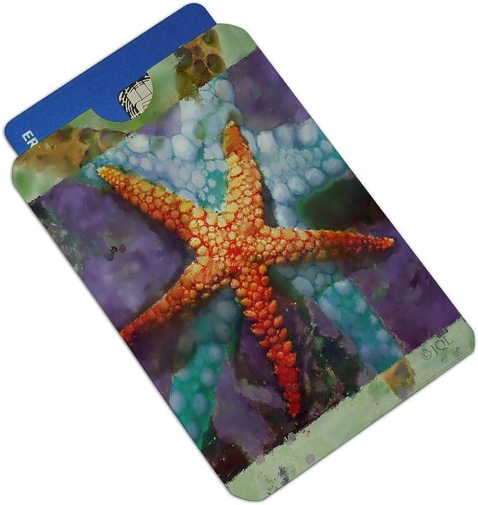 Starfish Watercolor Tropical Ocean Beach Credit Card RFID Blocker Holder Protector Wallet Purse Sleeves Set of 4
