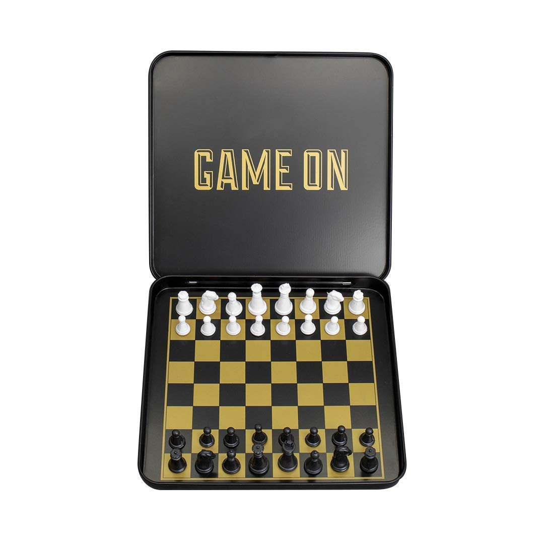 Travel Chess Set - Magnetic Traveling Mini Chess Set with Aluminum Carrying Case, Black and Gold by Iron And Glory