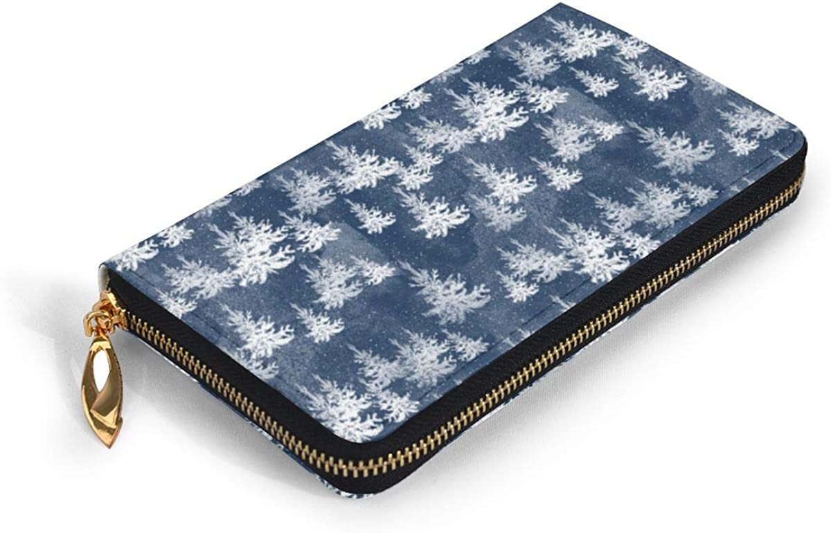 ChristmasPine Forest Navy Wallets For Men Women Long Leather Checkbook Card Holder Purse Zipper Buckle Elegant Clutch Ladies Coin Purse