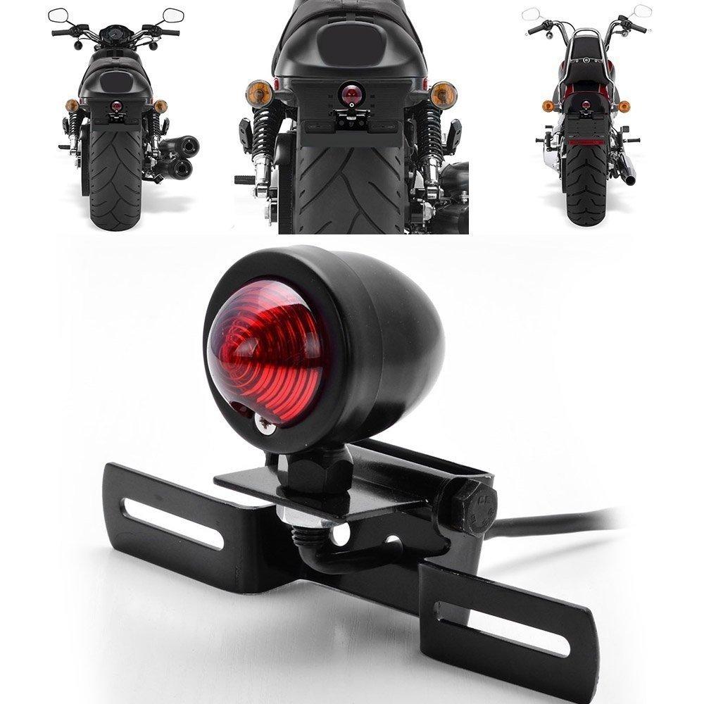 KaTur 1Pcs Red 12V Motorcycle Tail Light Brake Stop Running Light With License Plate Holder Black For Harley Bobber Chopper Cruiser Dyna Glide Sportster