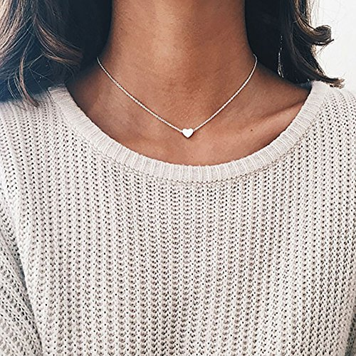 JIEPING Love Heart Choker Necklace Silver Gold Plated Collar Chain