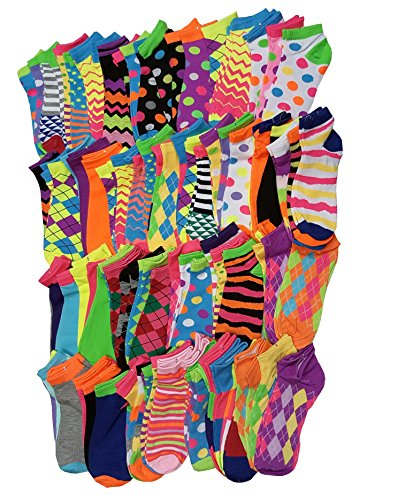 96 Pairs / 8 dozens Wholesale Lots Low Cut Neon Bright Colorful Ankle Socks by Sumona