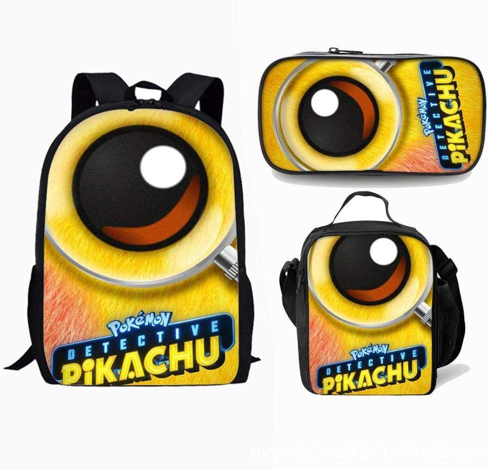 Escolar Pokemon Pikachu Set de Mochilas con Bolsa del Almuerzo y Estuche de Lápices para Infantil Adolescentes Las Viaje Bolso 3 en 1 Casual Backpack Style T: Amazon.es: Hogar