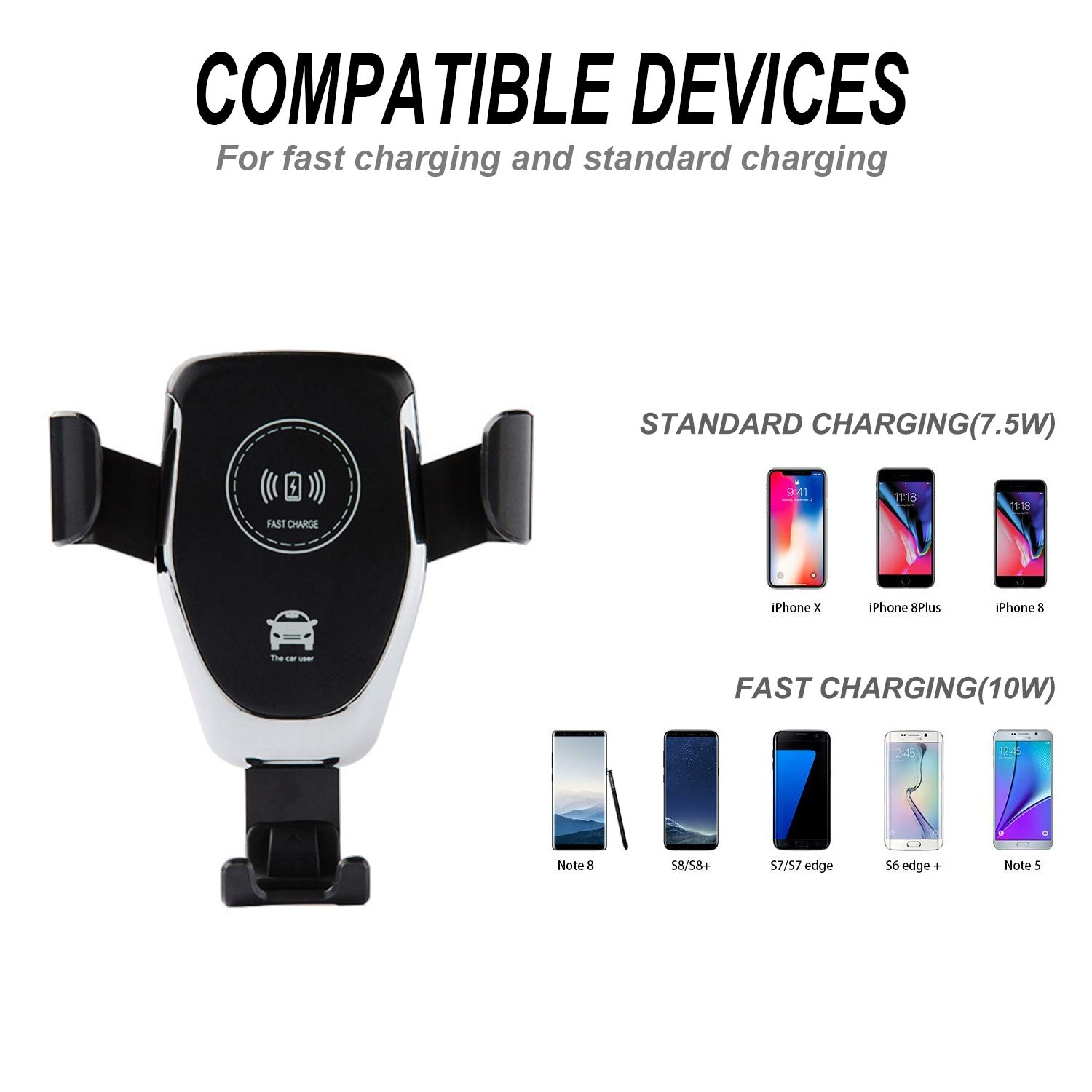 White Samsung Galaxy NoteS9 8//S 8//S 8+//S 7//S 6 Edge+//Note 5 and Most Qi Enable Devices Wireless Car Charger,Fast Charger Car Mount Air Vent Gravity Phone Holder for iPhone X//8//8 Plus