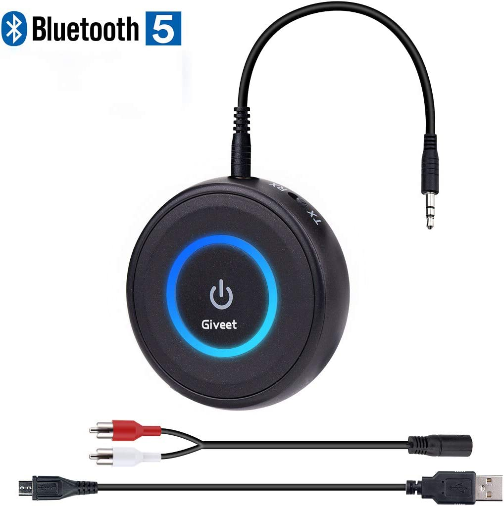 Amazon Com Giveet Bluetooth V5 0 Transmitter And Receiver With Low Latency Wireless Bluetooth Audio Streaming Adapter For Tv Ps4 Xbox Pc Headphones Home Sound Car Stereo Speaker With 3 5mm Or Rca Jack Computers