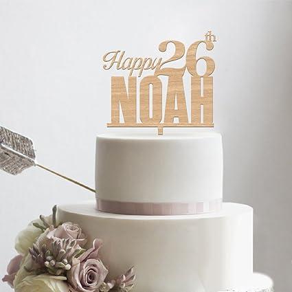 Amazon Com Kiskistonite Wooden Happy Birthday Cake Toppers Happy