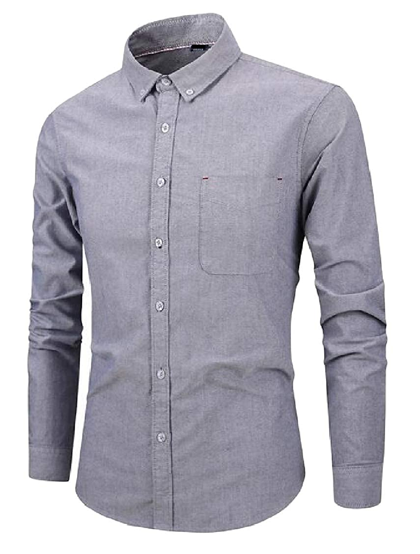 Sweatwater Mens Oxford Slim Fit Solid Color Long-Sleeve Button Up Dress Shirt