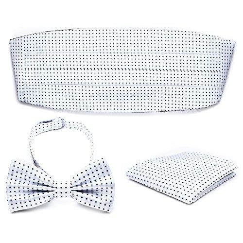 PenSee Mens Formal Polka Dot Jacquard Pre-tied Bow Tie & Pocket Square & Cummerbund Set - Various Colors