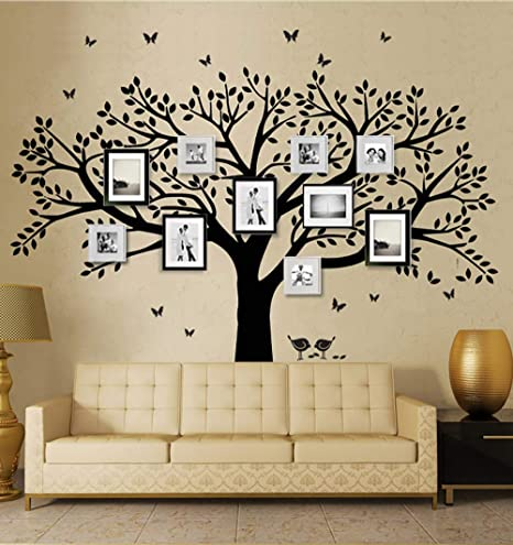 Family Tree Wall Decal Butterflies And Birds Wall Decal Vinyl Wall Art Photo Frame Tree Stickers Living Room Home Decor Wall Sticker Black Home Kitchen