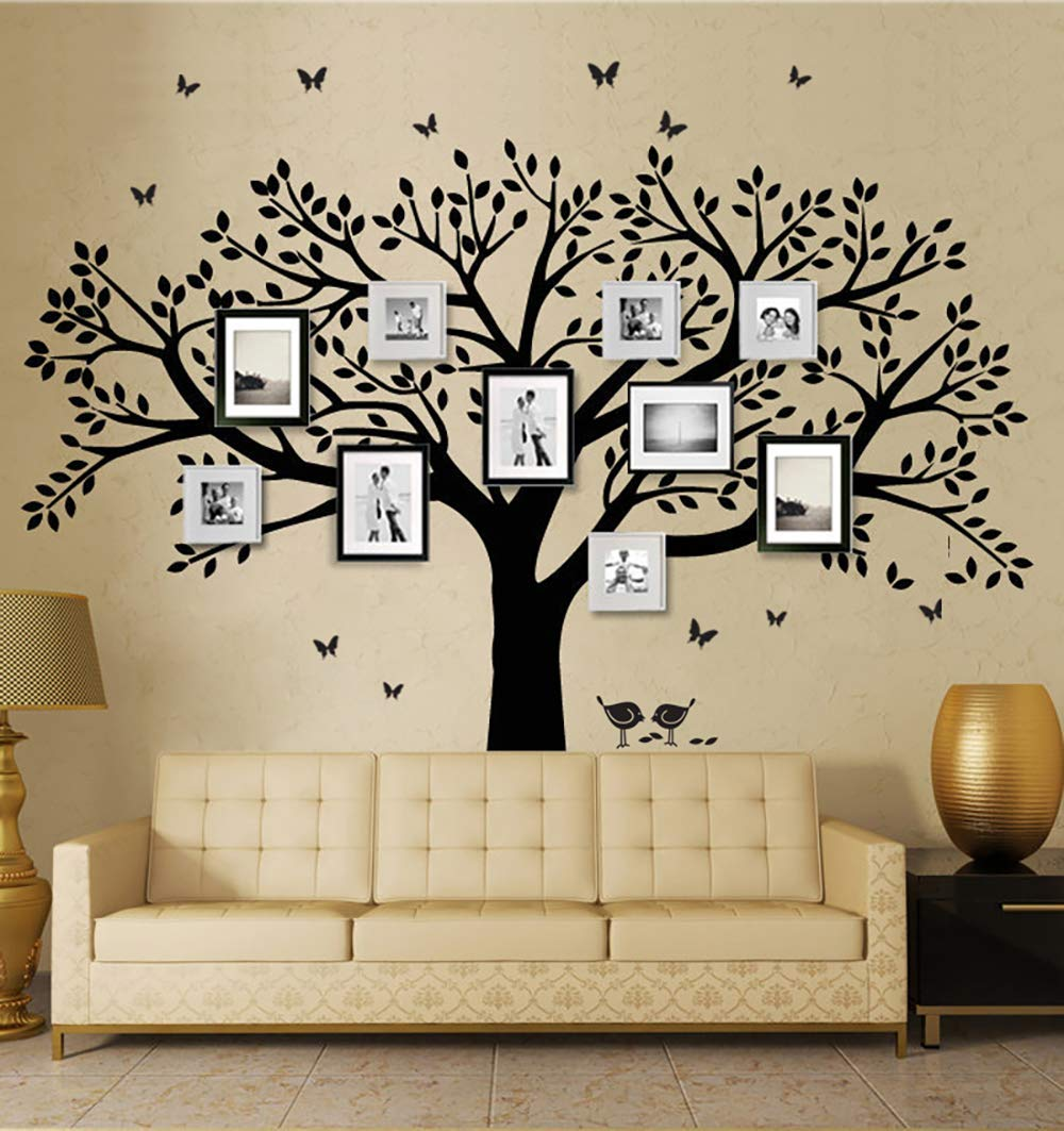 ANBER Family Tree Wall Decal Butterflies and Birds Wall Decal Vinyl Wall Art Photo Frame Tree Stickers Living Room Home Decor Wall Sticker (Black)