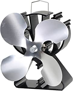 4-Blade Heat Powered Stove Fan for Wood/Log Burner/Fireplace Increases 80% More Warm air Than 2 Blade Fan- Eco Friendly(Silver)