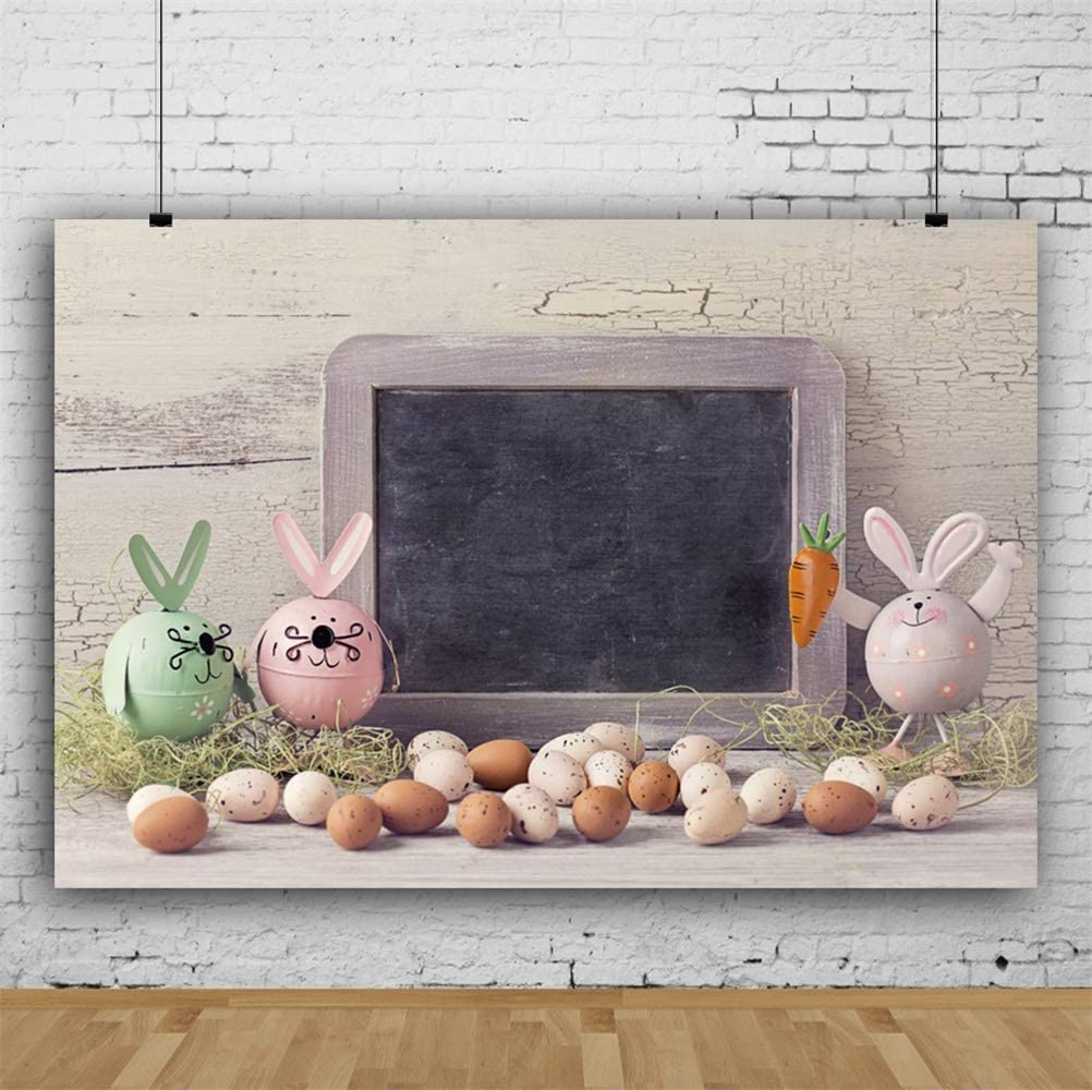 GoHeBe Easter 10x7ft Vinyl Photography Background Cute Artifact Easter Bunnies Eggs Small Blackboard Crackled Wooden Wall Backdrop Community Easter Egg Hunt Day Banner Wallpaper Studio Props