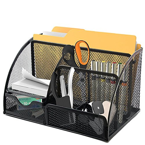 Mesh Desk Organizer 6 Slots With 2 Pen Holders and Pull Out Drawer, Mini Shelf To Keep Your Sticky Notes or Small Pad, Perfect Size Caddy For All Your Supplies. (Pull Out Notebook Shelf)
