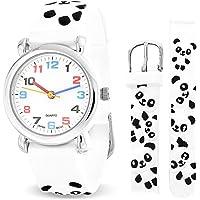 Blanco Y Negro Panda Impermeable Reloj Pulsera Cuarzo Maestro Tiempo Dibujos Animados3D Pulsera Redondo Marcado Colorido