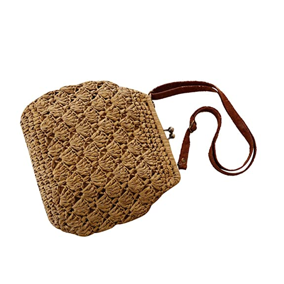 Vintage & Retro Handbags, Purses, Wallets, Bags Flada Shell Crochet Straw Woven Shoulder Bags With Vintage Brass Buckle Closed $15.99 AT vintagedancer.com