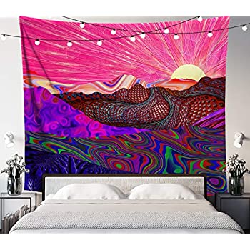 Lucid Eye Studios Trippy Trek Tapestry- Colorful Landscape Wall Tapestry- Sunrise Wall Art- Psychedelic Trail Wall Hanging- Rainbow Wall Decor