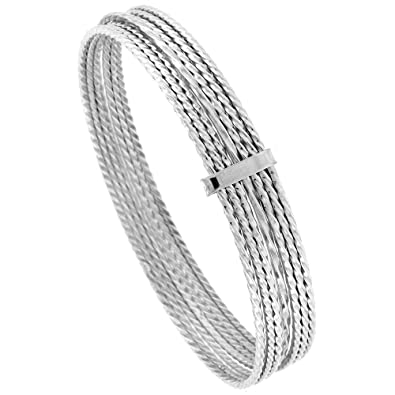 Amazon Com Sterling Silver 7 Day Bangle Bracelet Rope Wire Handmade