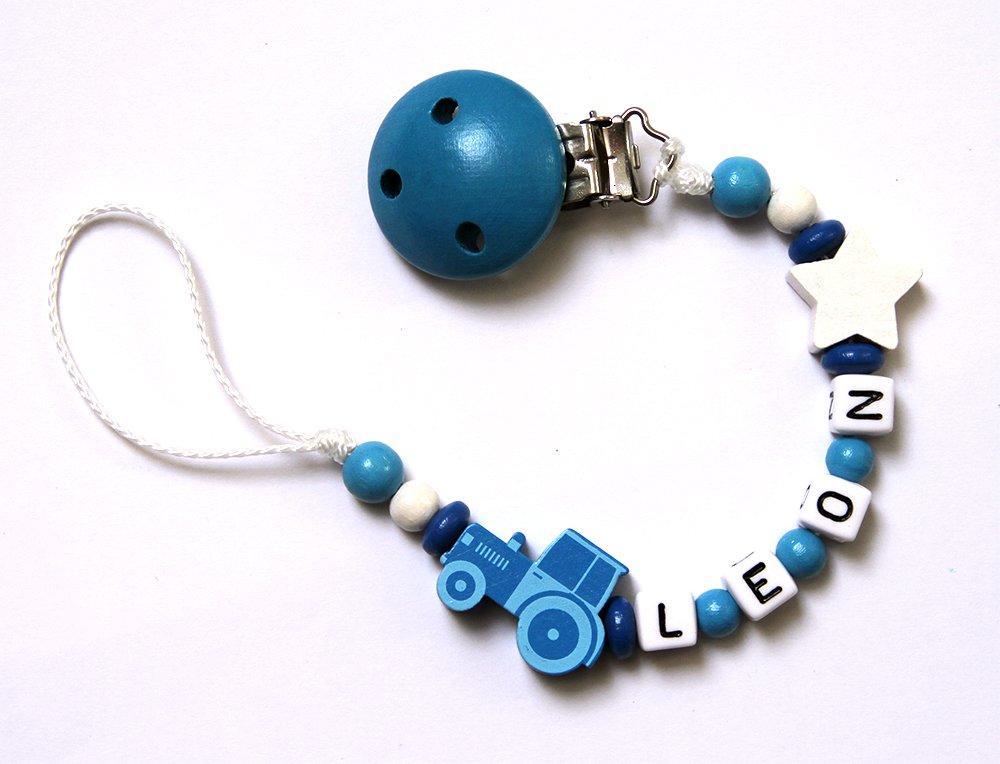 ANDREJ Baby Junge Schnullerkette mit Perlen aus Holz und Wunschname Wei/ß Blau mit traktor