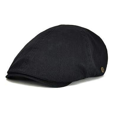eaea83ada40 VOBOOM Ivy caps Herringbone Cotton Flat caps Light Newsboy caps Cabbie Hat  (Black)(